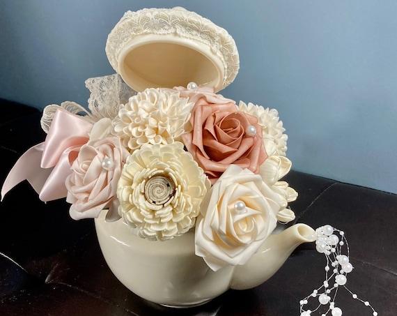 TEA PARTY CENTERPIECE, Alice in Wonderland Decor, Tea Lovers Gift, Tea Party Bridal Shower, Mad Hatta Party, Tea Party Theme Birthday