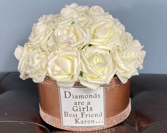 ROSE GOLD CENTERPIECE, Hat Box Centerpiece, Flowers in Box, Pearl Centerpiece, Rose Gold Wedding Centerpiece, Paris Theme Centerpiece, Paris