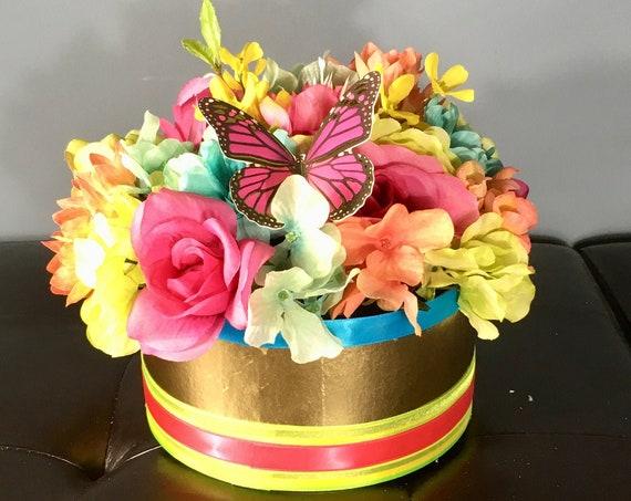TROPICAL FLORAL ARRANGEMENT, Summer Party Centerpiece, Tropical Flower Centerpiece, Butterfly Centerpiece, Vibrant Tropical Centerpiece