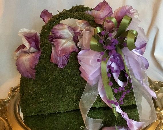 FLOWER PURSE CENTERPIECE, Paris Theme Decor, Bridal Shower Centerpiece, Garden Party Centerpiece, Flower Purse Decor, Paris Birthday Decor