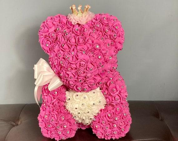 FLOWER TEDDY BEAR, Bear Centerpiece, Baby Shower Centerpiece, 1st Birthday Centerpiece, Birthday Centerpiece, Rhinestone Bear Gift, Pink