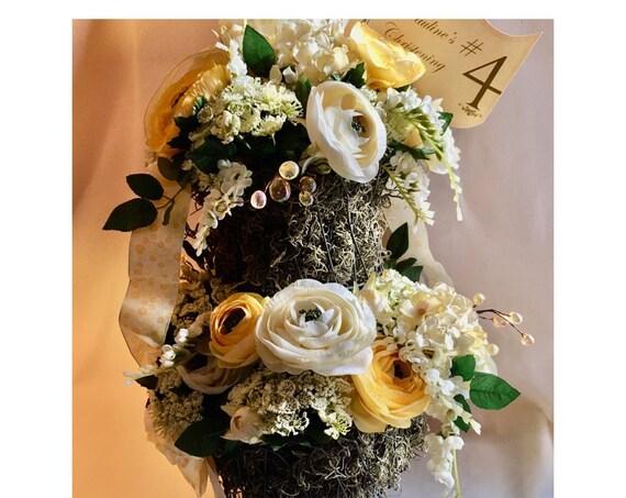 YELLOW TWO TIER Centerpiece, Yellow Centerpiece, Wedding Centerpiece, Home Decor, Dining Table Centerpiece, Shower Centerpiece, Silk Flowers