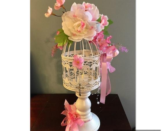 BIRDCAGE CENTERPIECE, Communion Centerpiece for Girl, Communion Centerpiece, Pink Religious Centerpiece, Christening Centerpiece, Birdcage