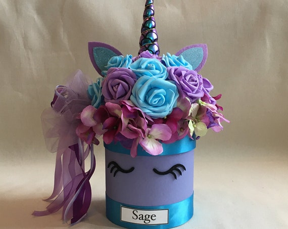 UNICORN CENTERPIECE, Unicorn Decorations, First Birthday Centerpiece, Unicorn Birthday Decoration, Purple Centerpiece, Birthday Centerpiece