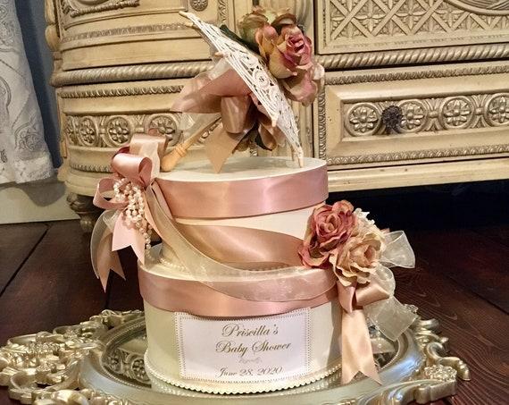 Umbrella centerpiece, umbrella theme, bridal shower centerpiece, baby shower centerpiece, blush color centerpiece, umbrella gift box