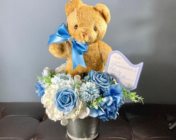 TEDDY BEAR CENTERPIECE, Baby Boy Shower, Baby Shower Centerpiece, Baby Shower Decoration, Baby Room Decor, Welcome Baby Gift, Boy Bear