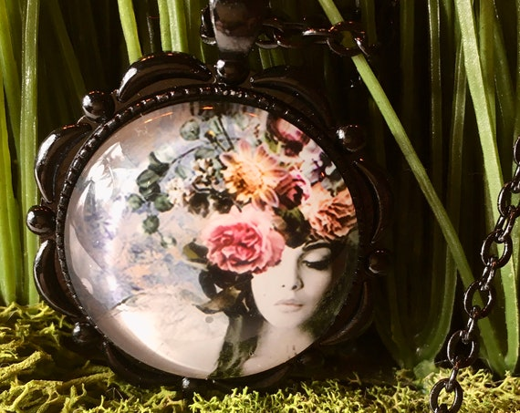 Fashion Lady Necklace, Bridal Party Gifts, Tea Party Favors, Hat Lady Pendant, Boho Necklace, Bohemian Necklace, Paris Necklace, Mothers Day