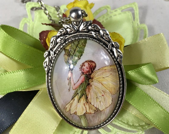 FAIRY NECKLACE, Fairytale Jewelry, Whimsical Fairy Pendant, Fairy Jewelry, Yellow Fairy Necklace, Fairy Pendant, Whimsical Fairy, Fairies