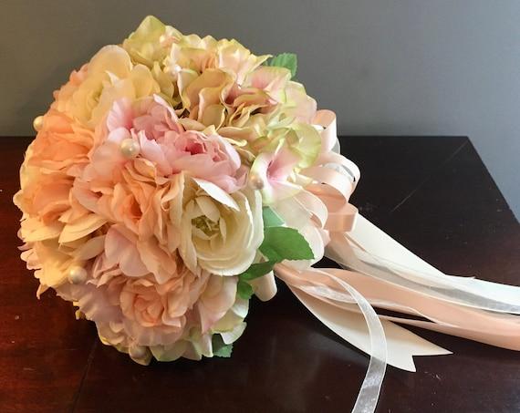 PASTEL WEDDING BOUQUET, Communion Bouquet, Bride Bouquet, Blush Pink Bouquet, Bridesmaid Bouquet, Wedding Bouquet, Wedding Flowers, Pink