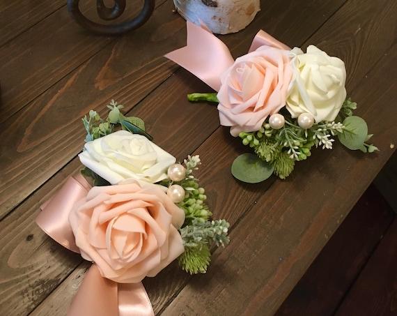 WEDDING CORSAGE, Wrist Corsage, Blush Pink Corsage, Blush Rose Corsage, Prom Corsage, Communion Corsage, Christening Corsage, Sweet 16