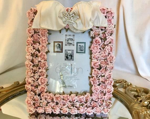 FLOWER PICTURE FRAME,  Princess Birthday Decoration, Cinderella Wedding Decoration,   Princess Baby Shower Decoration, Crown Theme Birthday