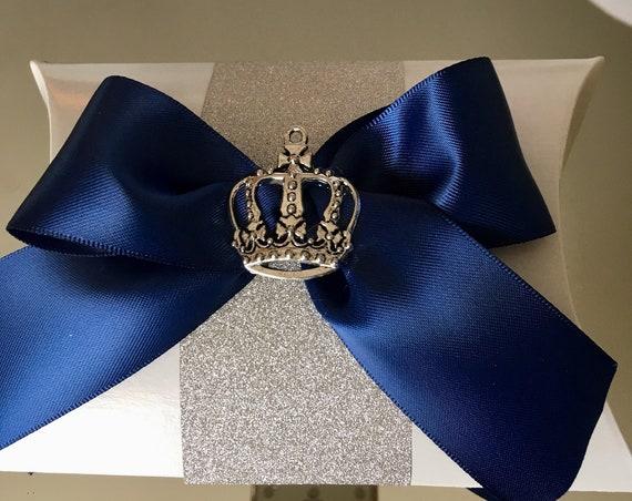 6pc favor box, pillow favor box, royal blue and silver, royal blue and gold, crown favor box, crown box, crown gift box, crowns, crown decor