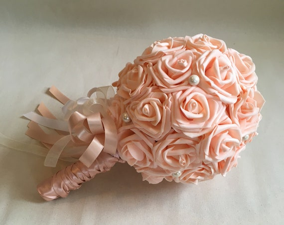PEACH BLUSH BOUQUET, Blush Communion Bouquet, Wedding Bouquet, Peach Blush Wedding, Blush Bouquet with Pearls, Bridesmaid Bouquet, Bride