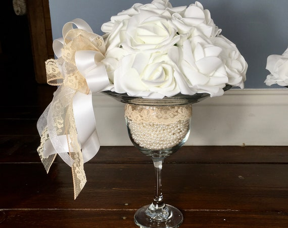 PEARL PEDESTAL CENTERPIECE, Blush and White Centerpiece, Pedestal Centerpiece, White Centerpiece Wedding Centerpiece Anniversary Centerpiece