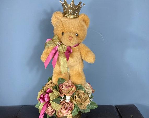 TEDDY BEAR CENTERPIECE, Baby Shower Centerpiece, Baby Room Decor, Royal Baby Shower, Christening Centerpiece, Baptism Centerpiece, Bear Deco