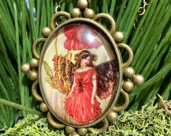 RED FAIRY NECKLACE, Red Fairy Pendant, Fairytale Jewelry, Whimsical Fairy Pendant, Fairy Jewelry, Fairy Pendant, Bridesmaid Gift, Fairies