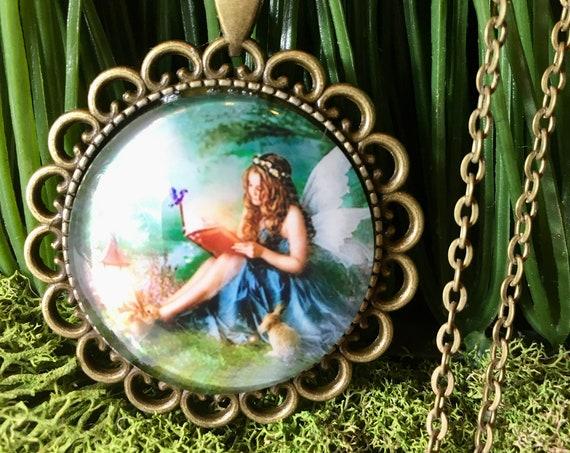 BLUE FAIRY NECKLACE, Blue Fariy Pendant, Blue Fairy Jewelry, Blue Angel Necklace, Blue Fairy Pendant, Blue Fairy Jewelry, Guardian Angel