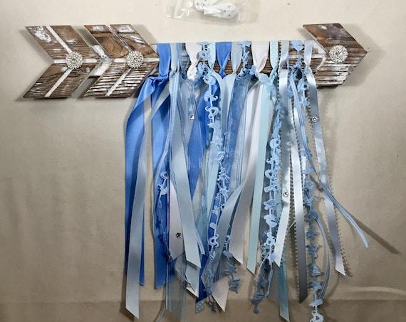 BLUE WHITE ARROW, Hanging Arrow, Decor Baby Boy Nursery, Blue Boy Room Decor, Blue White Wall Hanging, Boy Baby Shower, Boho Chic Boho Decor