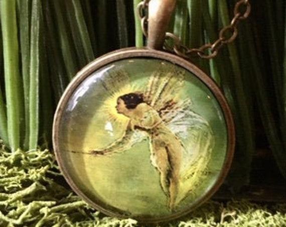 FAIRY PENDANT, Whimsical Fairy Pendant, Whimsical Fairy Jewelry, Fairy Jewelry, Bridesmaid Gifts, brass pendant, silver pendant, fairies