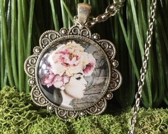 BLUSH FLOWER HAT Lady Pendant, Tea Party Favors, Designer Necklace, Bridal Party Gifts, Bridesmaid Gifts, Mother's Day Gift, Fantasy Jewelry