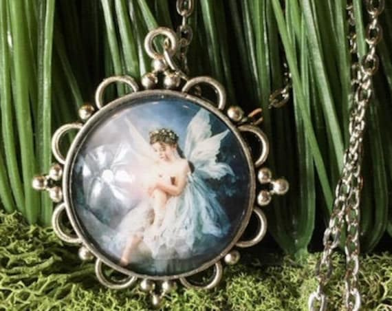 FAIRY NECKLACE, FAIRYTALE Necklace, Whimsical jewelry, Communion Gift, Fairytale Jewelry, Blue Fairy Necklace, Angel Jewelry, Angel Necklace