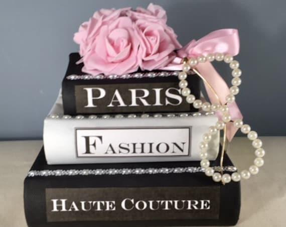 DECORATIVE BOOK BOX Centerpiece, Paris Theme Centerpiece, 50th Birthday Centerpiece, Sweet 16 Centerpiece, Bridal Shower Centerpiece, Paris