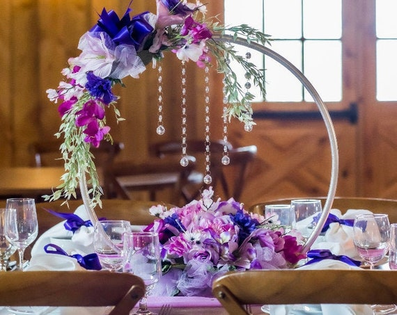 HOOP CENTERPIECE, Round Arch Centerpiece, Hoop Wedding Centerpiece, Hoop Floral Centerpiece, Hoop With Crystals, Sweet 16 Hoop Decor,