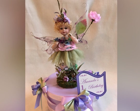 PURPLE FAIRY CENTERPIECE, Fairy Centerpiece, Fairies, 1st Birthday, Bridal Shower, Enchanted Garden Centerpiece, Enchanted Bridal Shower,