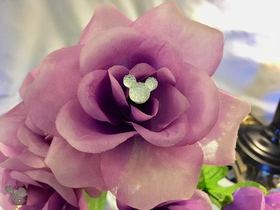 12 Disney wedding bouquet flower pin, hidden Mickey bouquet pick, Mickey boutonniere pin, Mickey corsage pin, Disney wedding centerpiece pin