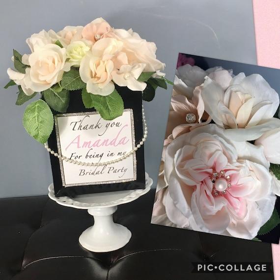 FLOWER BOX CENTERPIECE, Paris Theme Birthday, Bridesmaid Gifts, 50th Birthday Centerpiece, Blush Flower Centerpiece, Sweet 16 Centerpiece