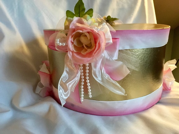 DECORATIVE HAT BOX, Centerpiece Box, Decorative Storage Box, Shower Gift Box, Birthday Box, Place Setting Box, Wedding Keepsake Box, Prop