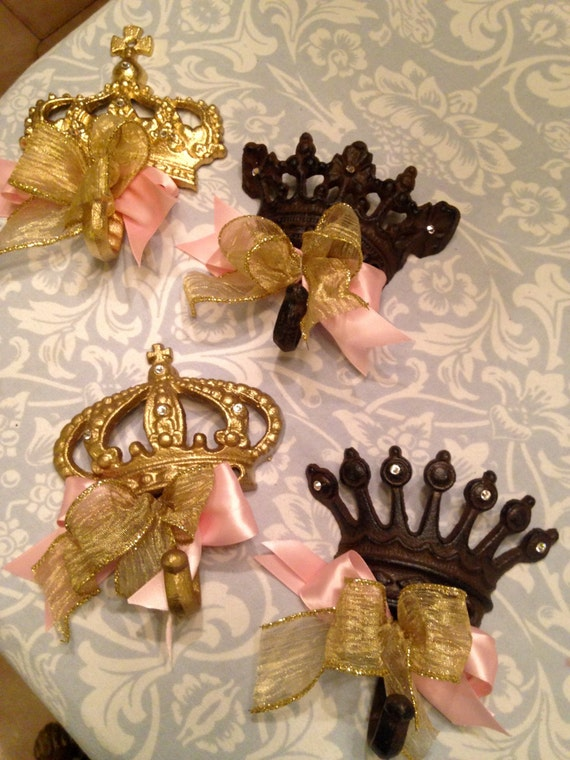 Crown Hooks (4pc asst), crowns, crown centerpieces, crown decorations, crown gifts, baby room crown hooks, royal weddings, cinderella ideas