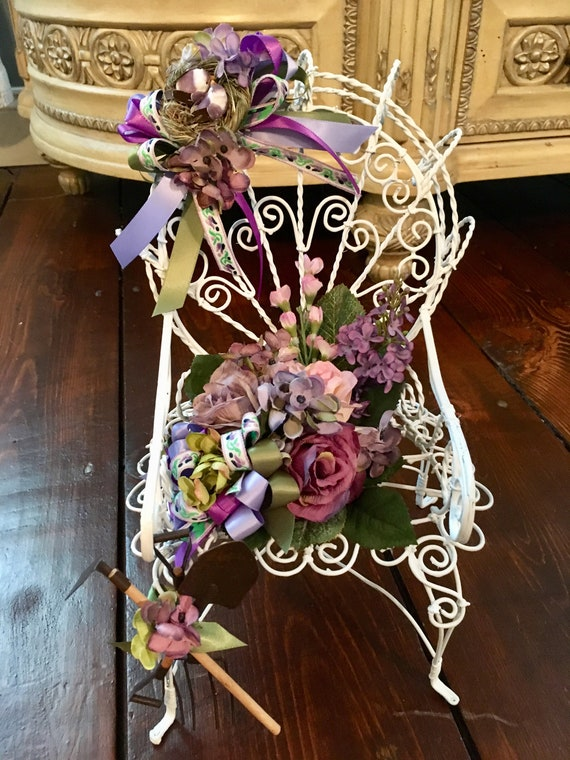 garden chair centerpiece, garden party theme, garden party decor, enchanted garden theme, bridal shower centerpiece, baby shower centerpiece