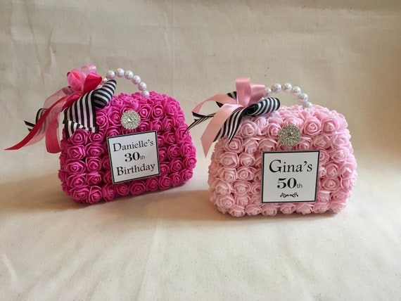 PURSE CAKE TOP, Flower Purse Cake top, Paris Theme Decor, Paris Theme Sweet 16, Paris Theme Bridal Shower, Fashion Centerpiece, Purse