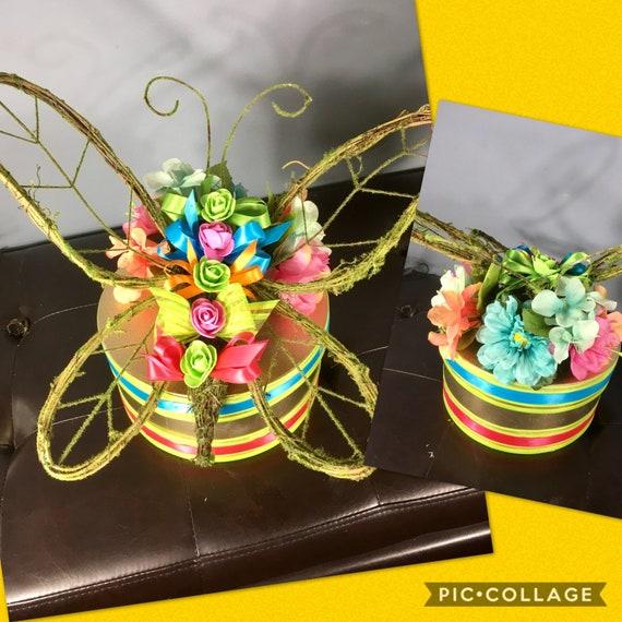 BUTTERFLY CENTERPIECE, Tropical Butterfly Centerpiece, Luau Party Centerpiece, Garden Party Centerpiece, Girl Birthday Centerpiece, Hawaiian