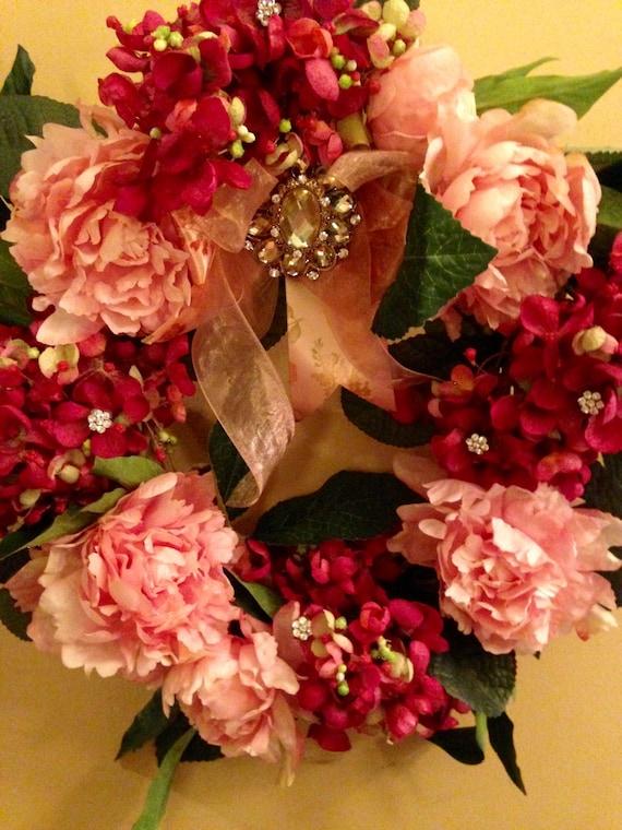 FRONT DOOR WREATH, Bedroom Wreath, Valentine Wreath, Silk Flower Door Wreath, Pink and Rasberry Wreath, Home Decor, Front Door Floral Wreath