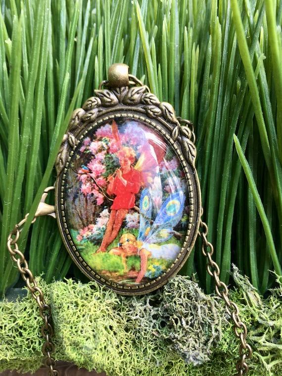 FAIRY NECKLACE, Red Fairy Necklace, Red Fairy, Whimsical Fairy Pendant, Fairy Jewelry, Fairy Neckalcelace