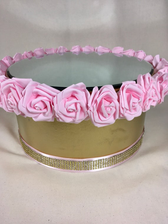 CAKE DISPLAY STAND, Flower Cake Stand, Centerpiece Display Stand, Mirror Display Stand, Centerpiece Prop, Pink Cake Stand, Pink Display