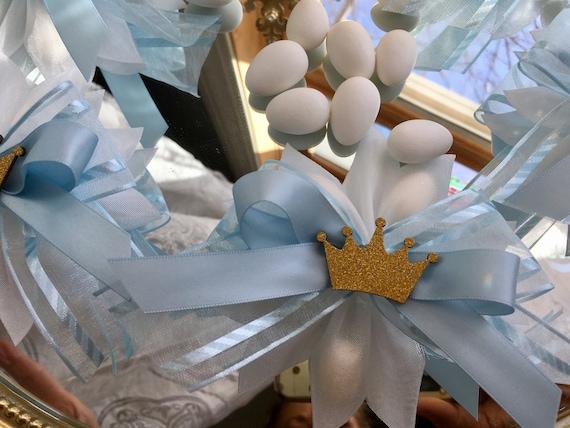 set of 12pc crown confetti, crown favors, bonbonierre,  princess favors, italian ribbon confetti, confetti flower, crown confetti, crowns