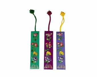 Handmade Silk Bookmark, set of 3 with Peony Flowers, Darkorchid Purple, Cornflower Blue, Green