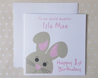 Babys 1st Birthday Card Personalised First For A Special Little Girl Daughter Goddaughter Granddaughter Niece Or Sister