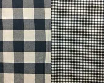 Robert Kaufman navy and white gingham check