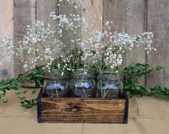 Wood Crate Centerpiece, Wedding Centerpiece, Wood Crate For Quart Mason Jars, Rustic Wedding Decor, Table Decorations, Reclaimed Wood