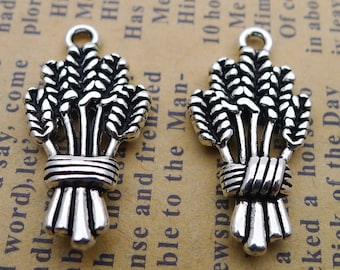 3 x Tibetan Silver Farm Barley Wheat Charm Pendant Jewellery Making