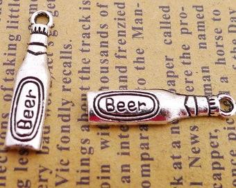 BULK 50  Beer Bottle Silver Tone Charms SC5446