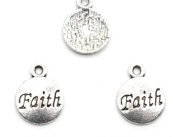 SC1145 BULK 40 Faith Charms Antique Silver Tone