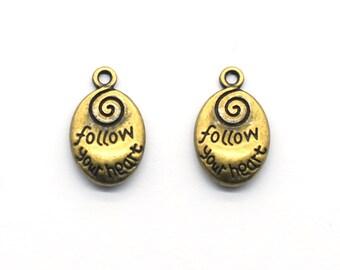 Antique Bronze Supplies 14X21mm 20PCS Antique Bronze FOLLOW Your HEART Drop Charm Pendent JXB13-A1632 DIY Supplies Inspiration Charm