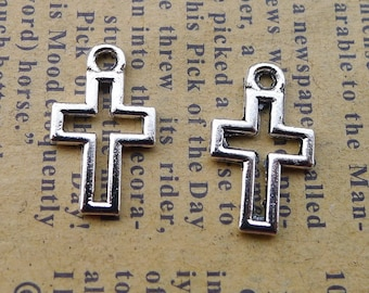 Solid 925 Sterling Silver Vintage Antiqued Cross Pendant Charm 39mm x 16mm
