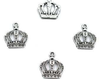 10Pcs Antiqued Gold Tone Tiny Holy Crown Charms Pendants 13x14mm