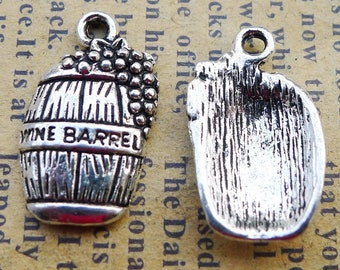 BULK 50 Wine Barrel charms antique silver tone FD18